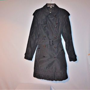 Burberry Ruffle Hem Double Breasted Trench Coat 12